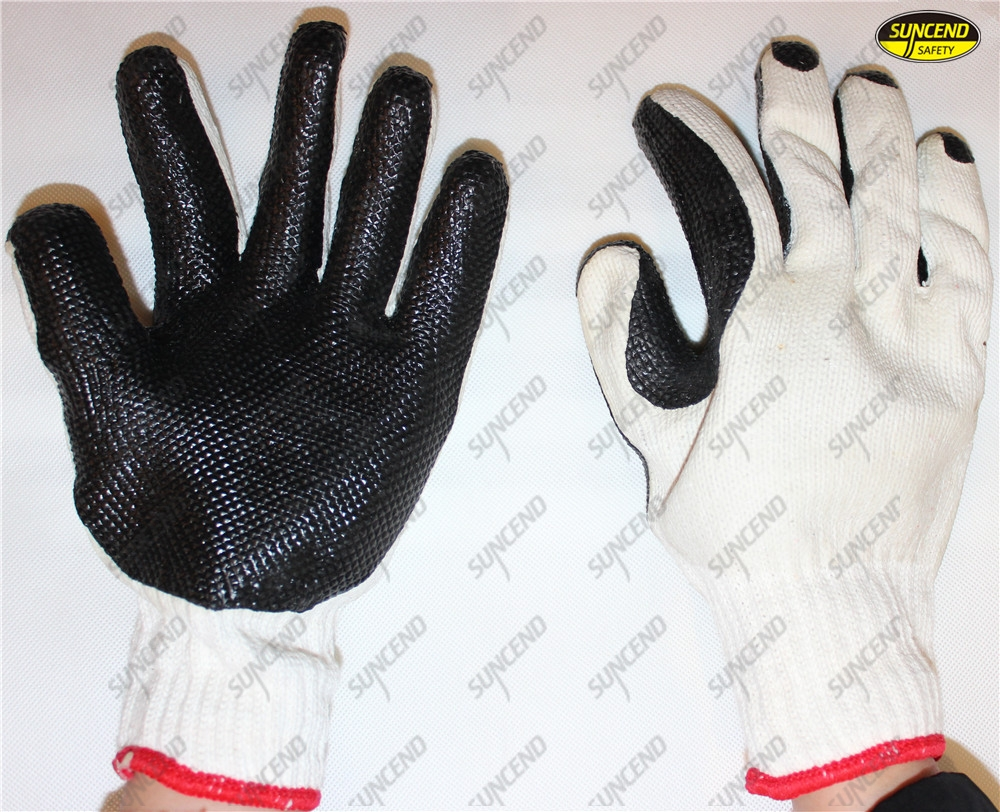Grain rubber coated polycotton hand work gloves