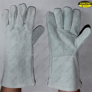 Industrial working cow leather long welding gloves
