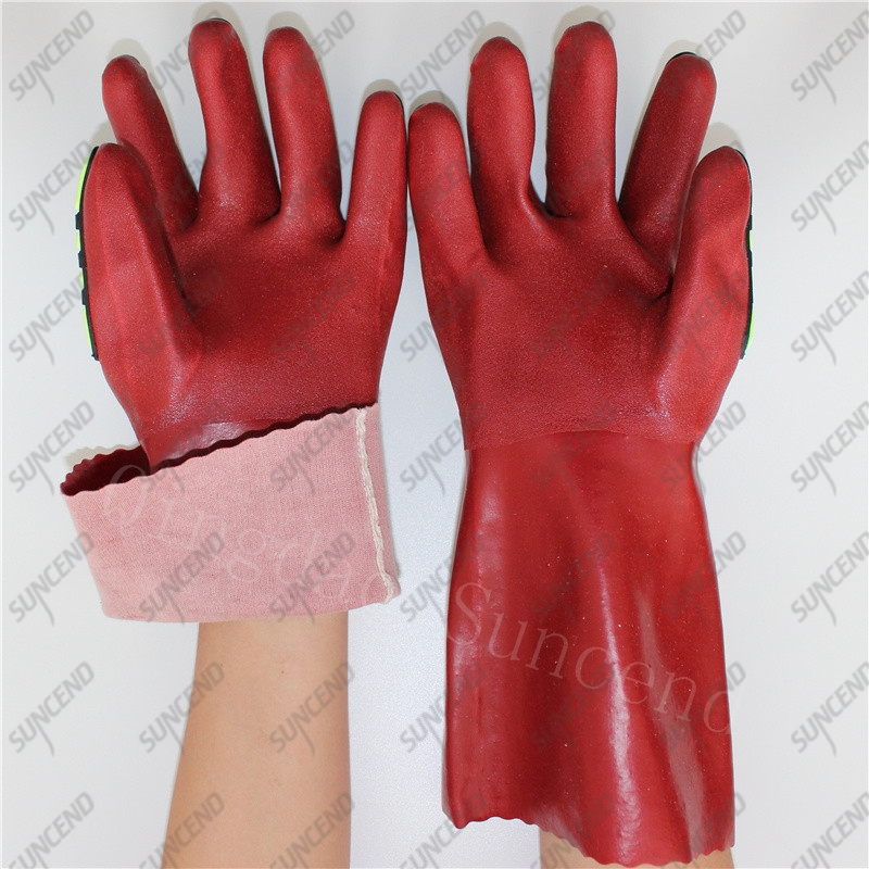 30cm cotton liner TPR gauntlet red sandy PVC mining gloves