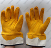 Safety cuff 3/4 big wrinkle coated yellow crinkle latex working gloves