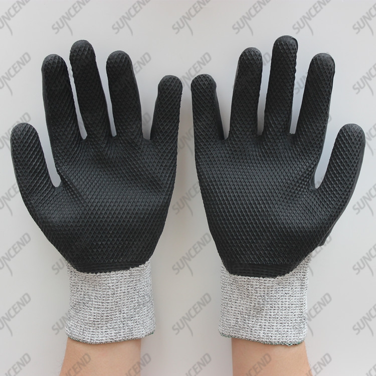 13G HPPE liner cut resistant glove with latex palm coated embossed finish