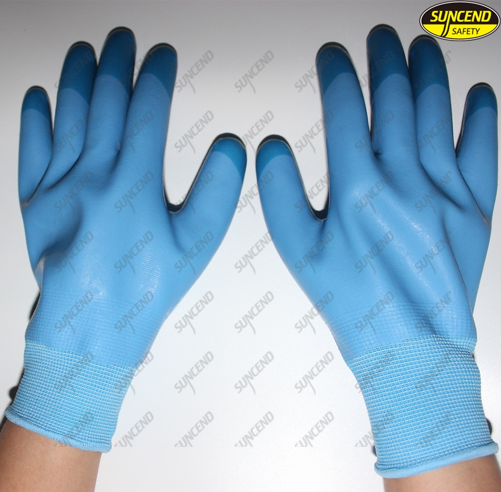 Anti slip polyester liner micro foam latex industrial hand protective gloves