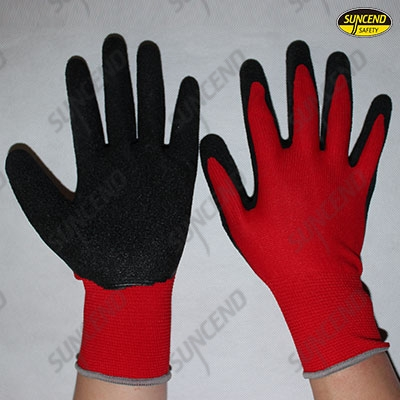 Red liner sandy latex palm coated work gloves