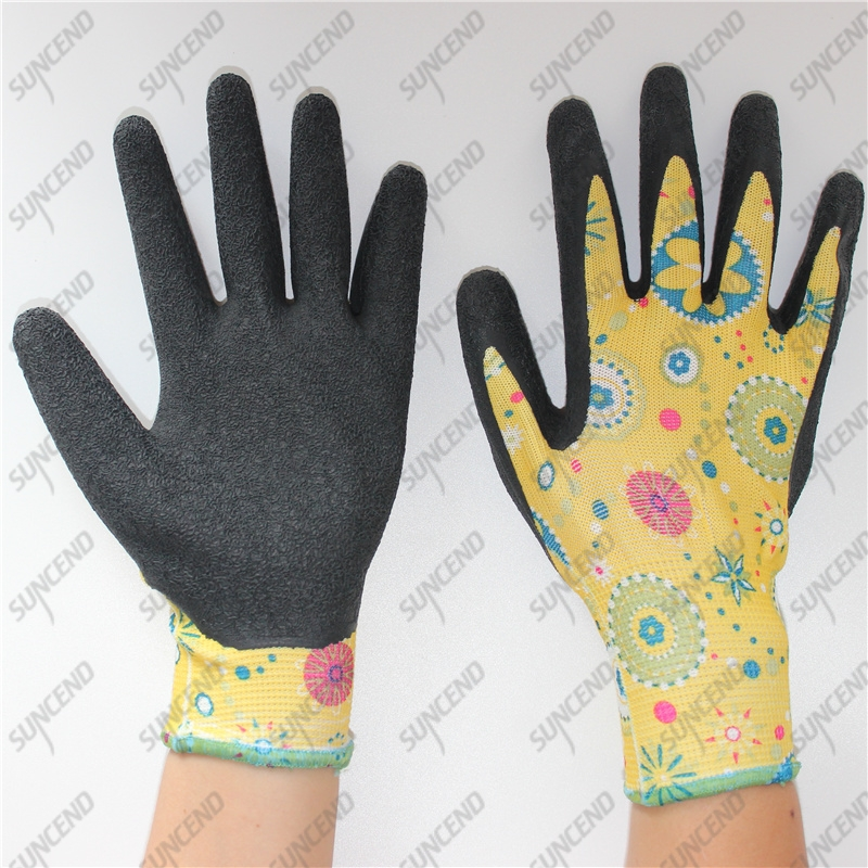 Garden household work 13G flower nylon black crinkle latex women gloves