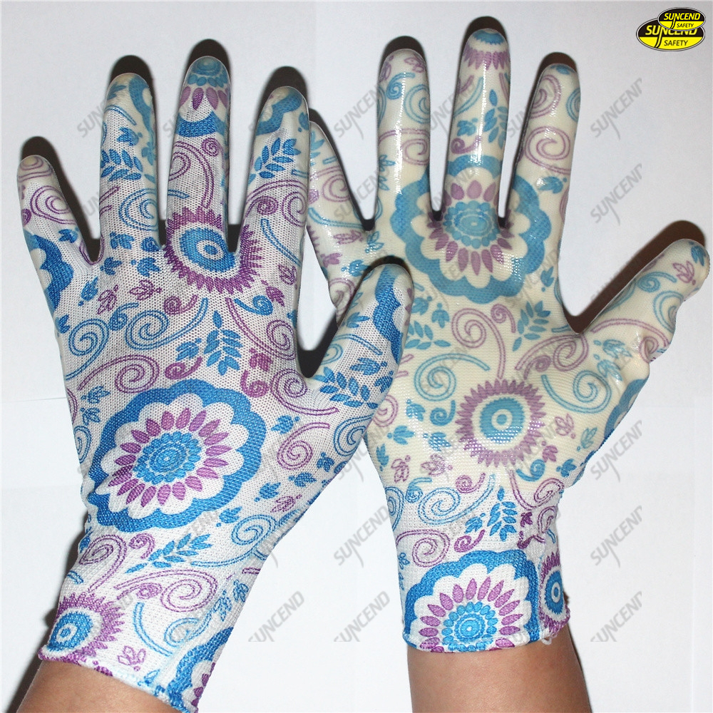Gardening work colorful liner nitrile coated safe gloves