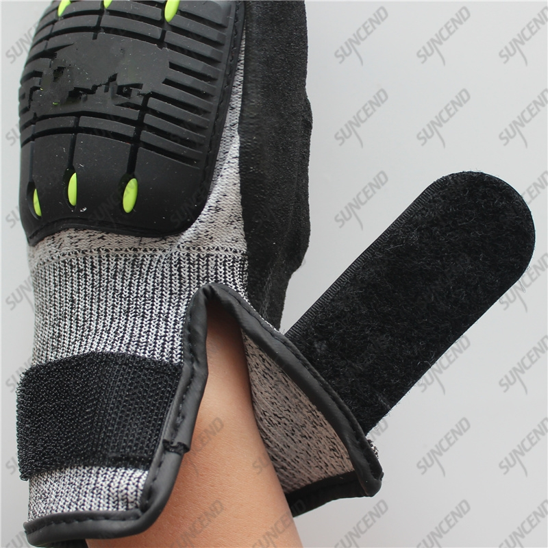 Palm Sandy Nitrile Anti Oil TPR Cut Resistance Gloves with Wrist Strap