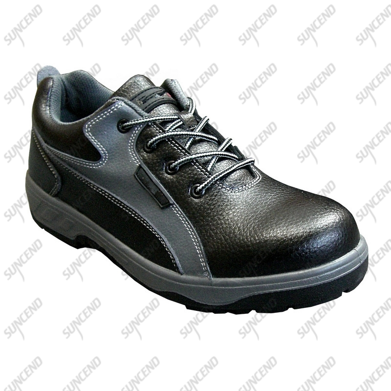 Low cut genuine cow leather upper steel toe cap plate safety shoes