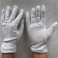 Safety white ceremonial PVC dotted 100% polyester esd gloves