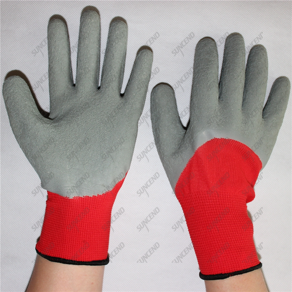 Open back breathable latex crinkle coated gloves