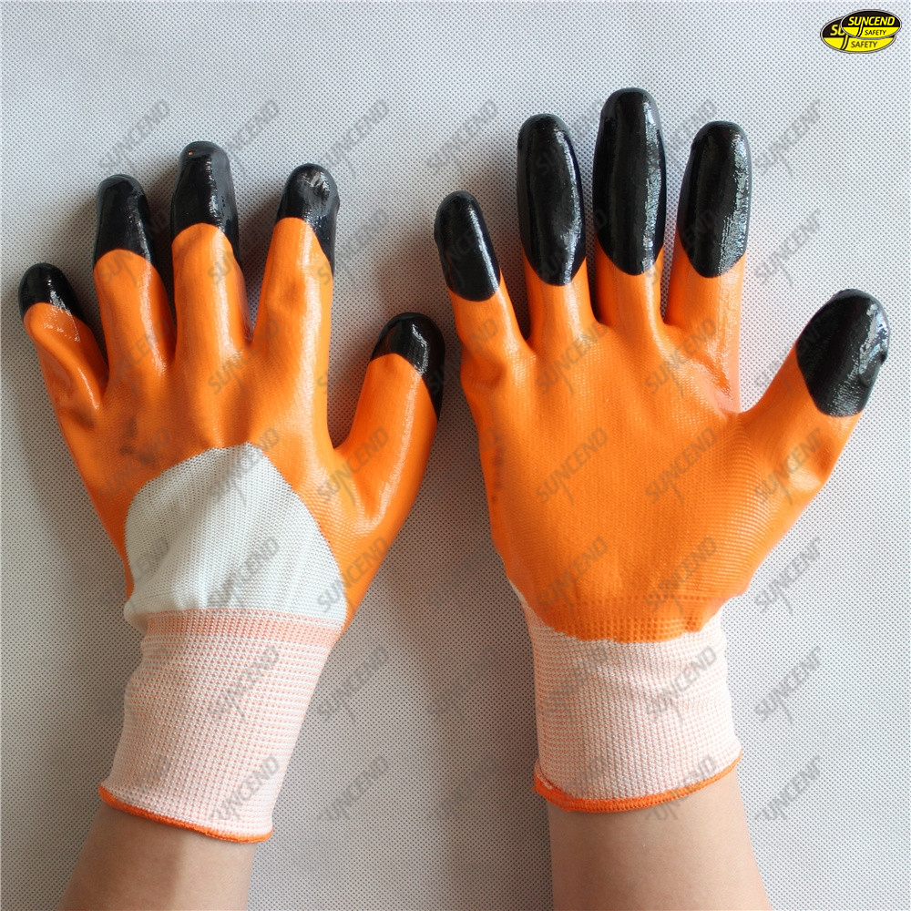 Good grip smooth finish nitrile coated hand safety gloves