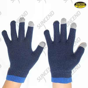 Blue polycotton knitted touch screen gloves