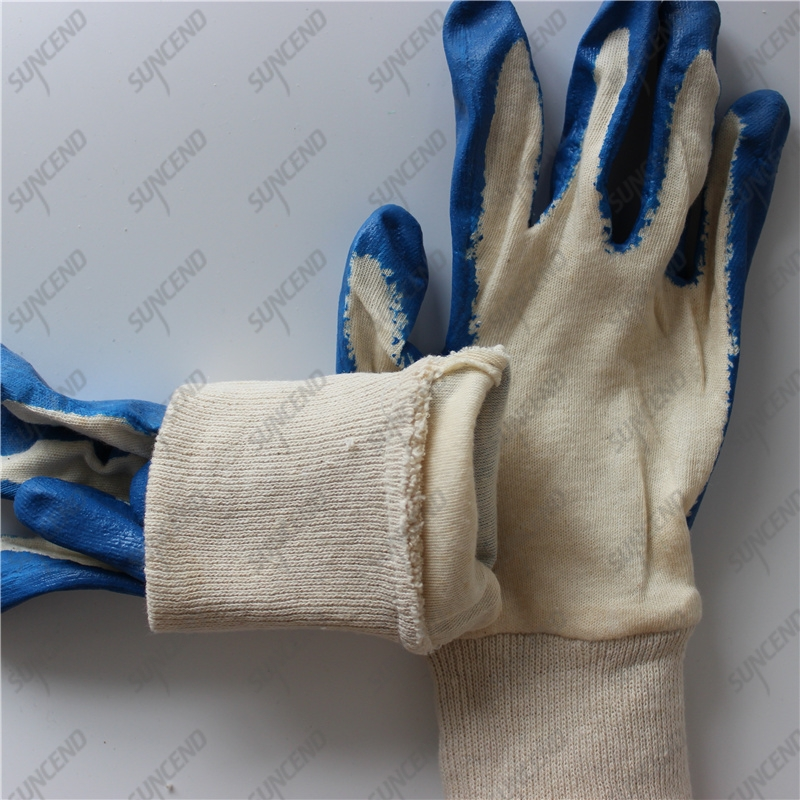 Double seam interlock towelling smooth blue latex dipped work gloves
