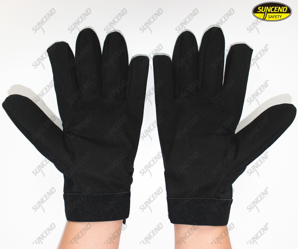 Synthetic leather rough palm anti slip industrial safety working mechanics glove