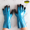 Blue nitrile fully dipped black sandy palm work gloves