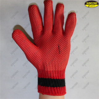 Polycotton liner soft rubber coated safety working gloves