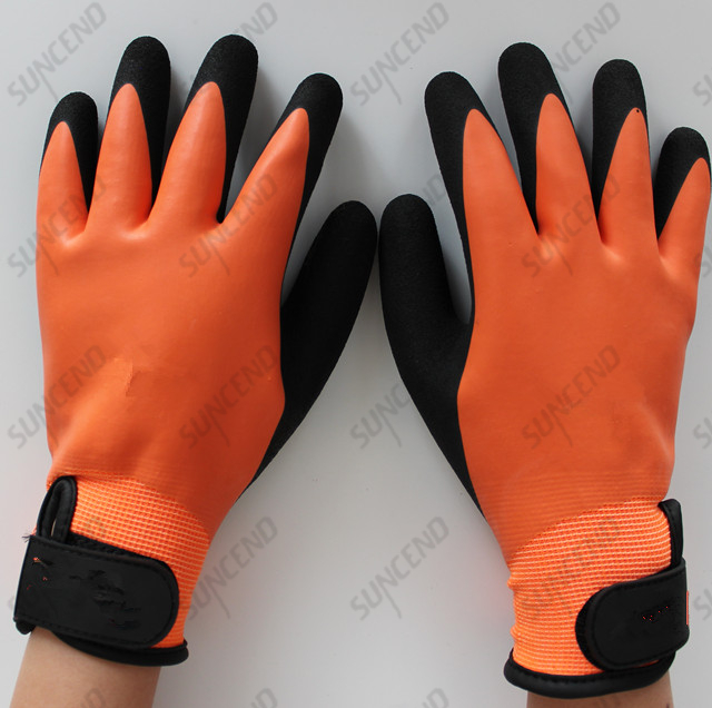 Double Layer Double Latex Dipped Strengthen Sandy Finish Work Glove