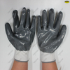 Polyester liner nitrile fully coated smooth finish safety work gloves