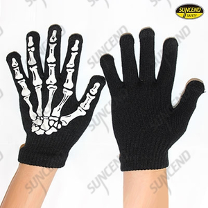 Black knitted gloves with skeleton printed on back for fun