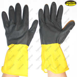 Flock waterproof antislip latex long household gloves