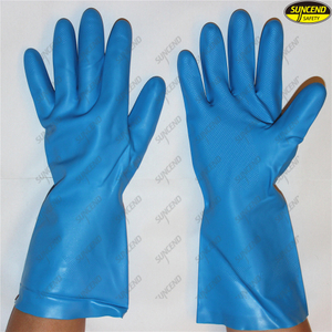 Waterproof chemical resistant flock lined nitrile gloves