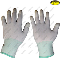 PU fingertips coated protective antistatic gloves