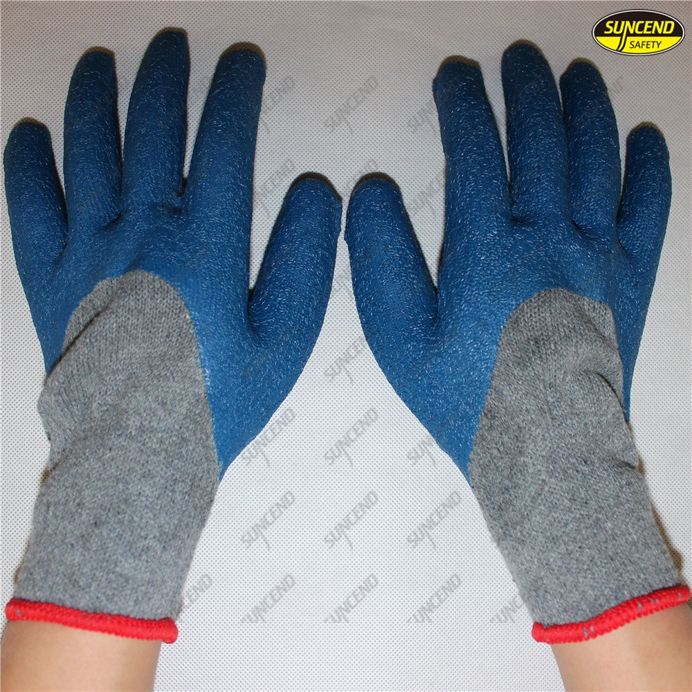 Safety crinkle latex coated thin liner breathable work gloves