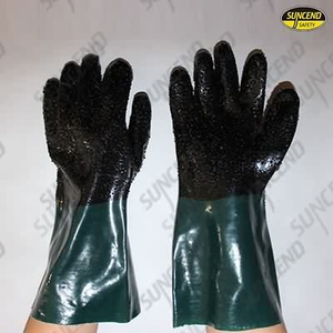 Black plam green cuff pvc dipped gloves with rough finish