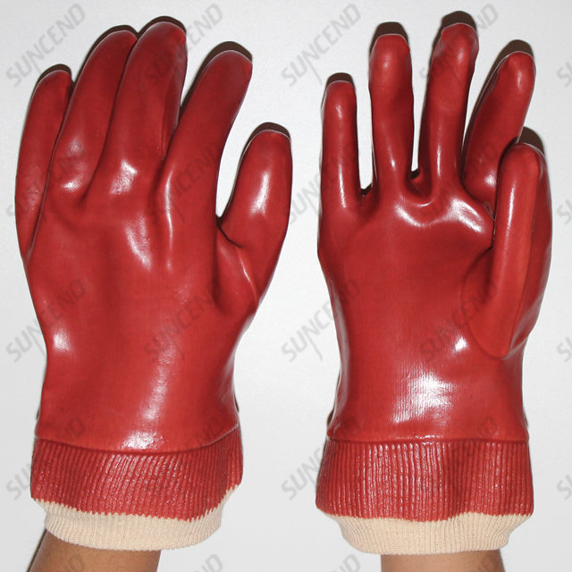 PVC Fully Dipped Working Gloves with Knit Wrist