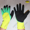 Nylon liner 3/4 latex rubber coated palm and thumb double dipped work gloves