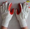 10G polycotton rubber palm coated safety working gloves