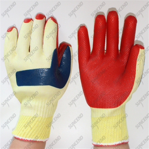 Double laminated blue orange rubber coated construction gloves
