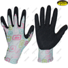 Colorful liner crinkle latex coated gardening household gloves