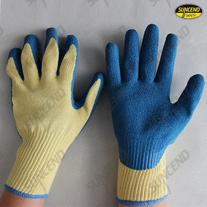 Aramid fiber liner latex rubber coated anti-cut work gloves