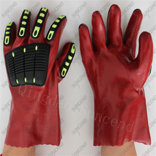 27cm Anti impact TPR gauntlet sandy PVC sandy coated gloves