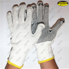 Work safety black color dark blue pvc dot glove
