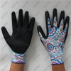 13G floral colored polyester palm coated crinkle latex gloves