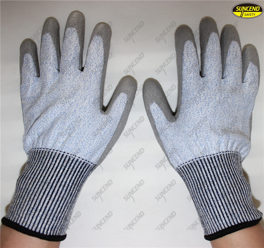Anti cut hand protection PU coated working out gloves