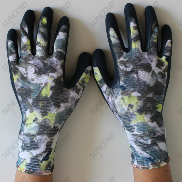 Latex Coated Sandy Finish Work Gloves With Nylon/polyester Liner