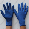 Seamless 13 gauge blue polyester shell crinkle latex palm coated gloves