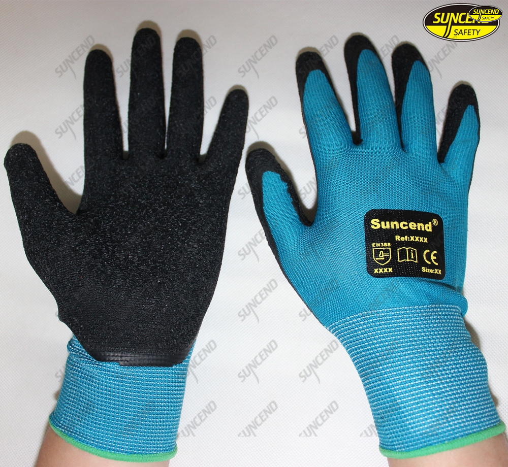 Labor protective black nitrile palm sandy coated working gloves