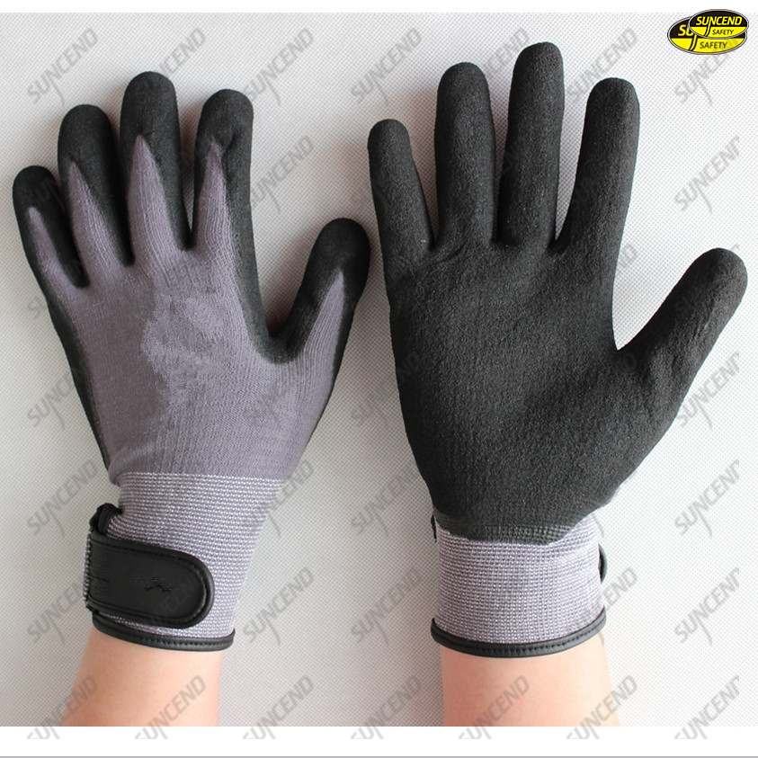 Hand protection acrylic terry liner sandy nitrile gloves