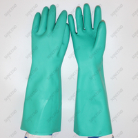 Diamond Textured Finish Chemical Resistant 45cm Green Nitrile Fully Coated Safety Gloves