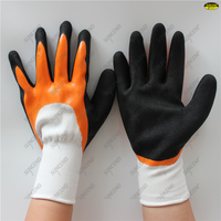 13G polyester hand protective two color double coated sandy nitrile waterproof w