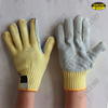 7Gauge aramid fiber liner with cow split leather palm cut resistant gloves