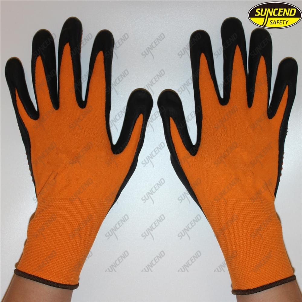 PVC dotted black nitrile coated spandex nylon industrial gloves