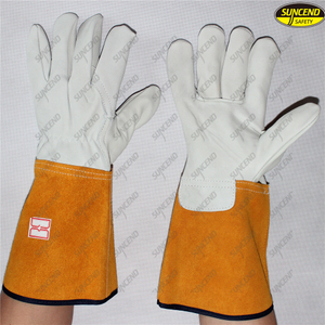 Long straight cuff big hands cow split leather glove