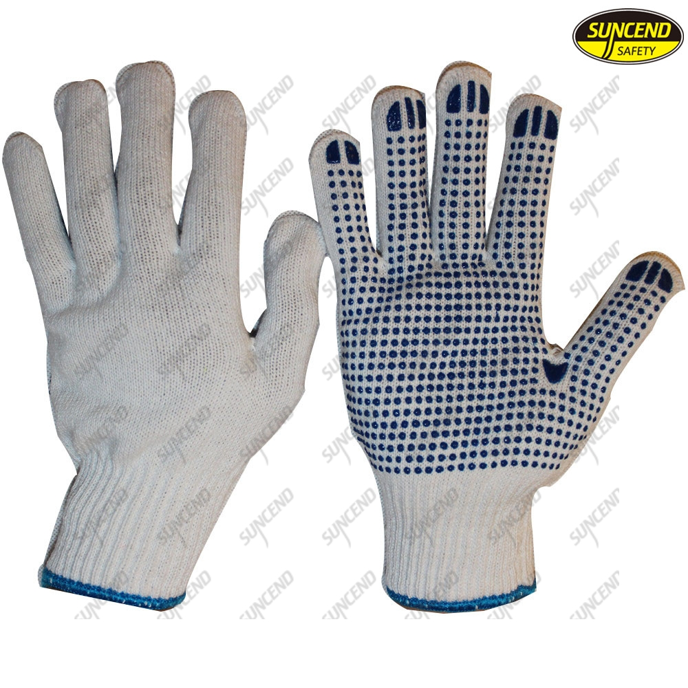 pvc dotted cotton working gloves knitted polycotton gloves