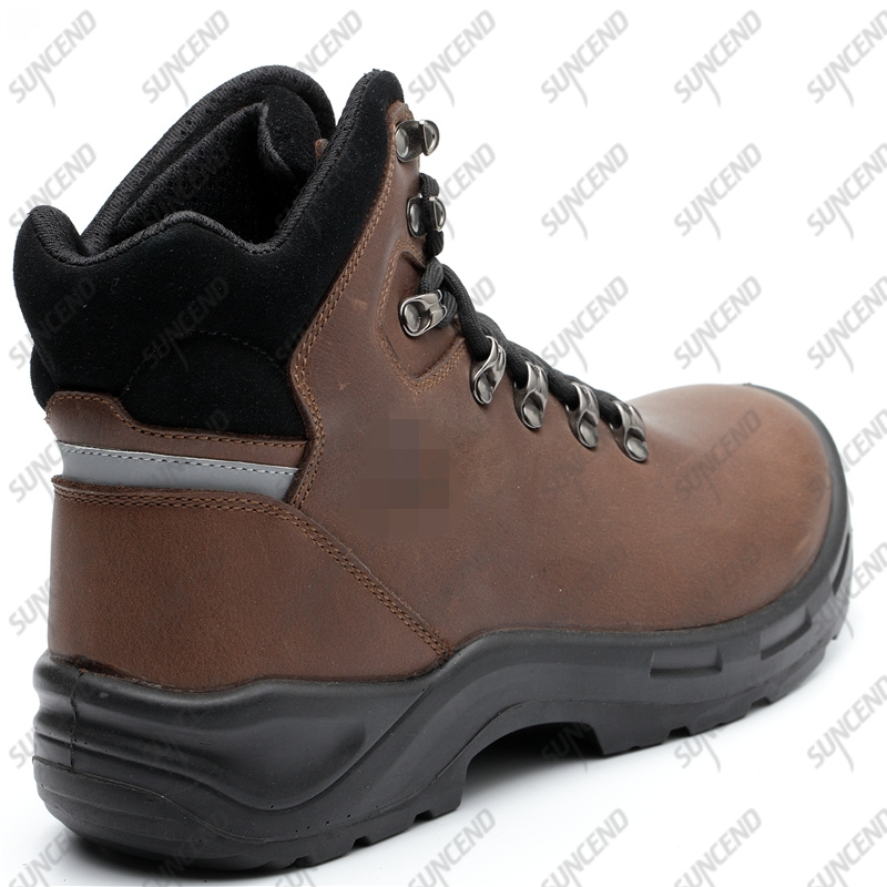 Industrial protective PU outsole leather steel toe cap safety shoes