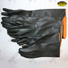 Black latex rubber industrial gloves with orange liner