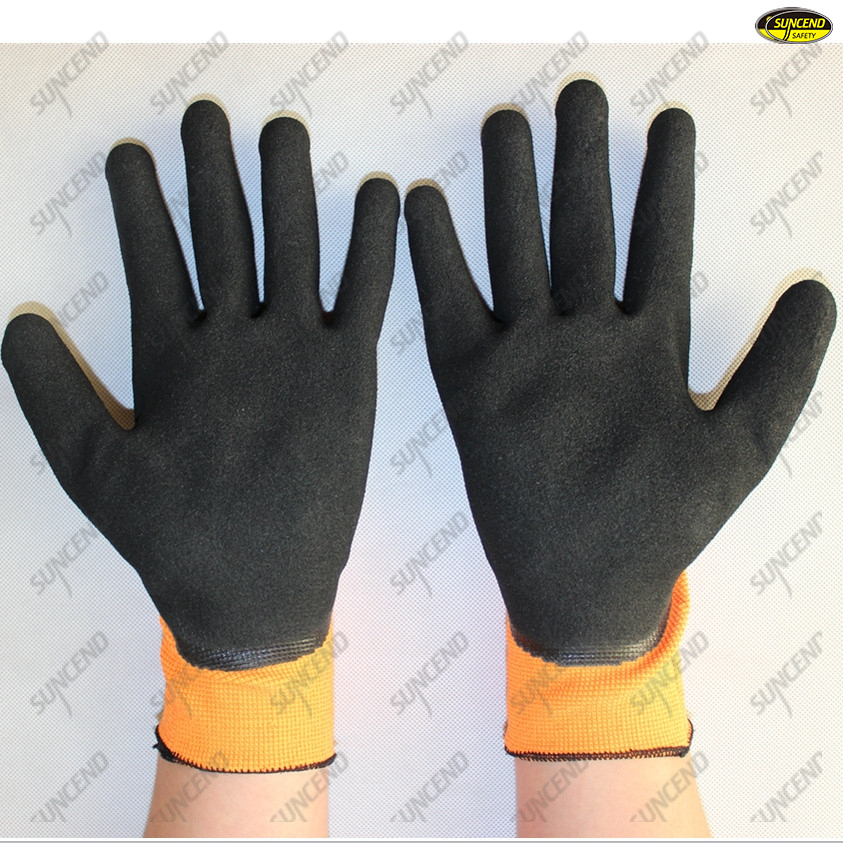 Oil resistant sandy nitrile coated work gloves